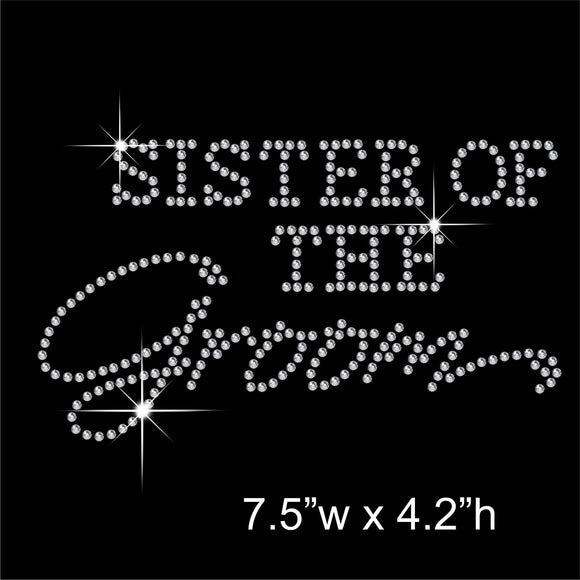 Sister of the Groom Hotfix Rhinestone Transfer Diamante Motif, Iron-on Applique