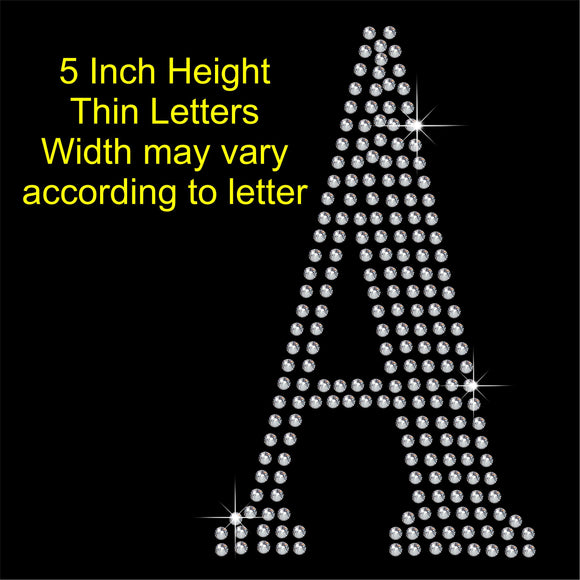 5 Inch high Capital letters Hotfix Rhinestone Transfer Diamante Motif, Iron on Applique