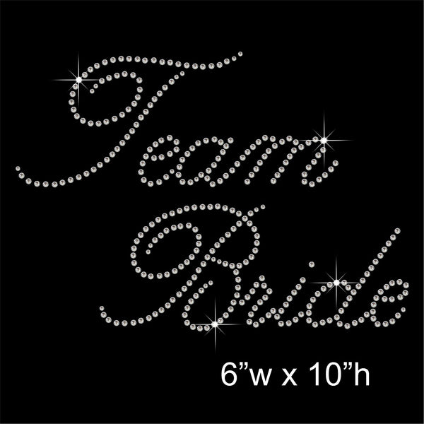 Team Bride Hotfix Rhinestone Transfer Diamante Motif, Iron on Applique