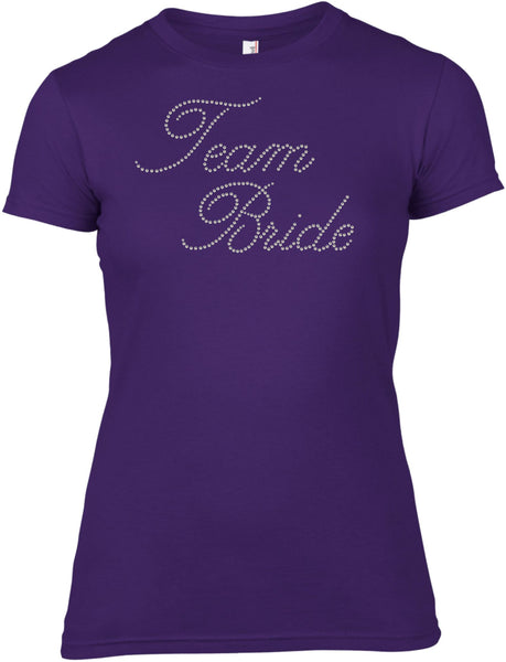 TEAM BRIDE RHINESTONE EMBELLISHED HEN STAG DO PARTY T-SHIRT FOR LADIES