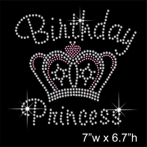 Birthday Princess Hotfix Rhinestone Transfer Diamante Motif, Iron on Applique