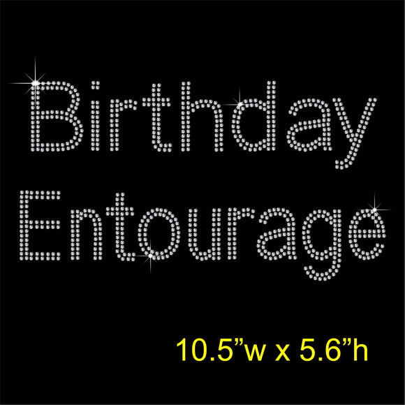 Birthday Entourage Hotfix Rhinestone Transfer Diamante Motif, Iron on Applique