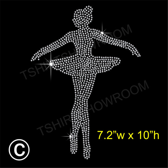 Ballerina Dancer Hotfix Rhinestone Transfer Diamante Motif, Iron on Applique