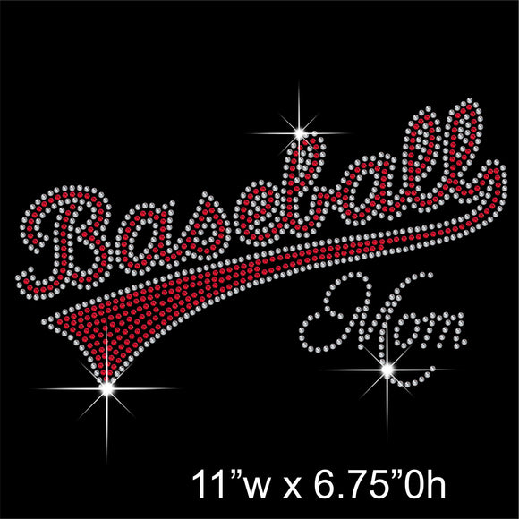 Baseball Mom Hotfix Rhinestone Transfer Diamante Motif, Iron-on Applique