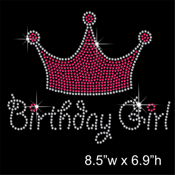 Birthday Girl with Tiara Hotfix Rhinestone Transfer Diamante Motif, Iron on Applique