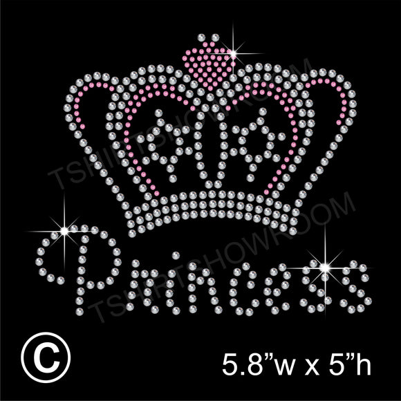 Princess Crown/Tiara with Magic Wand Hotfix Rhinestone Transfer Diamante Motif Iron on Applique
