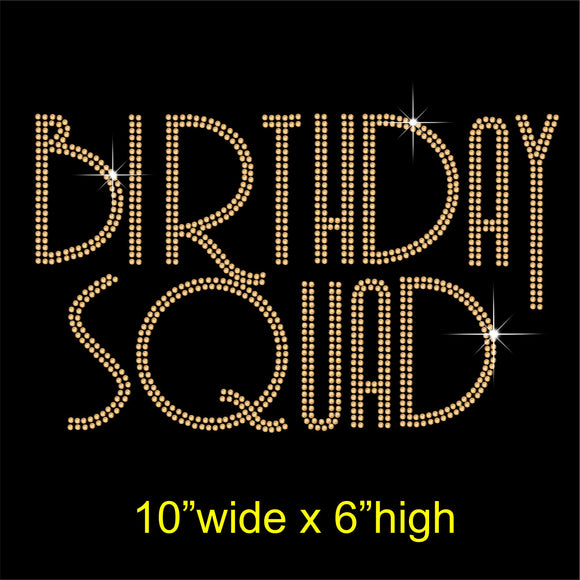 Birthday Squad Hotfix Rhinestone Transfer Diamante Motif, Iron on Applique