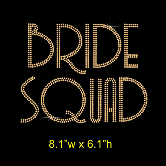 Bride Squad Hotfix Rhinestone Transfer Diamante Applique, Iron on Motif