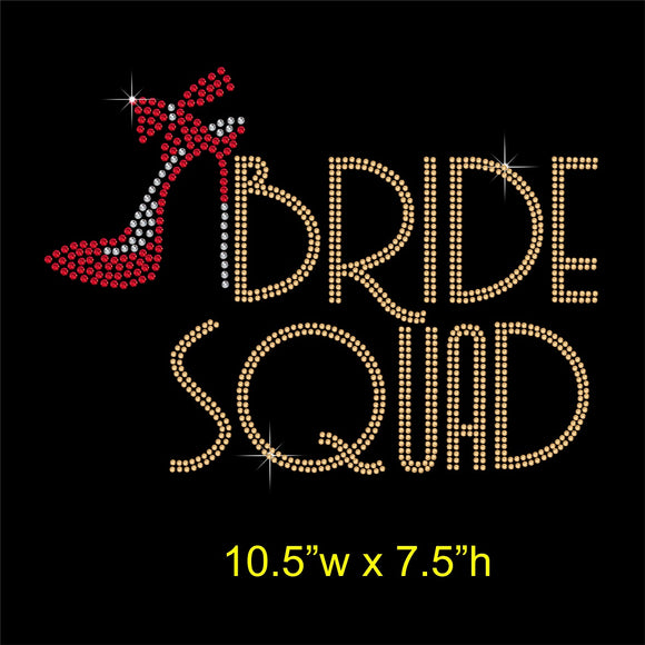 Bride Squad with Shoe Hotfix Rhinestone Transfer Diamante Applique, Iron on Motif