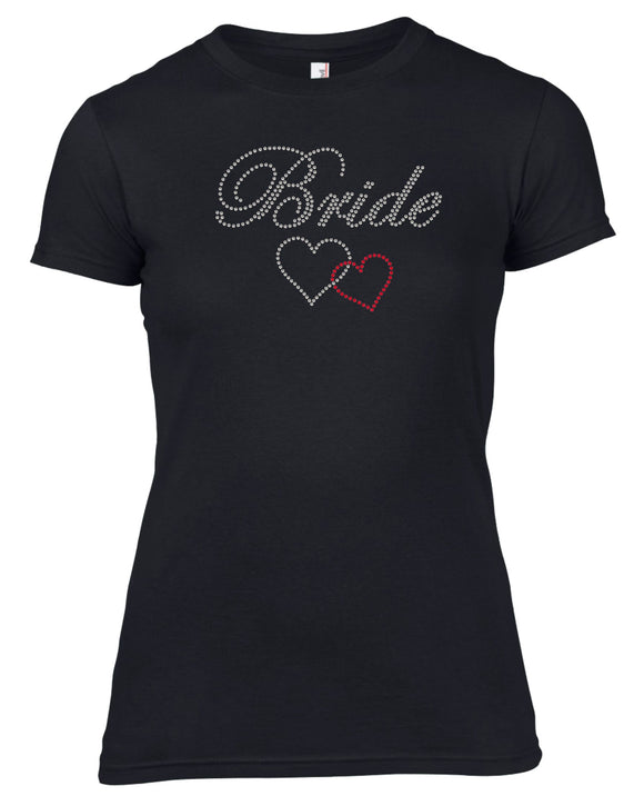 BRIDE AND TWO HEARTS RHINESTONE EMBELLISHED HEN DO PARTY T-SHIRT FOR LADIES