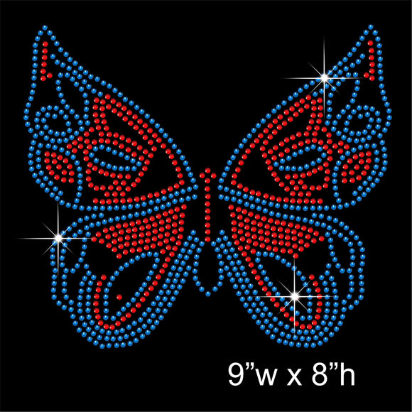 Butterfly Hotfix Rhinestone Transfer Diamante Motif, Iron on Applique