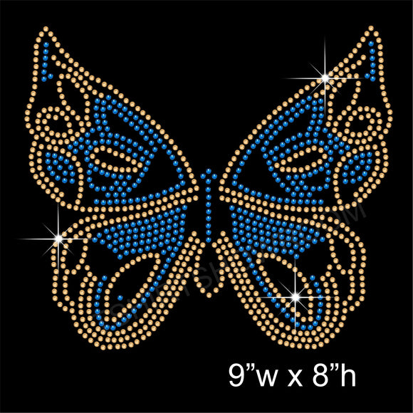 Butterfly Hotfix Rhinestone Transfer Diamante Motif, Iron-on Applique