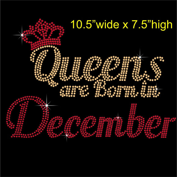 Queens are Born in December Hotfix Rhinestone Transfer Diamante Motif, Iron on Applique