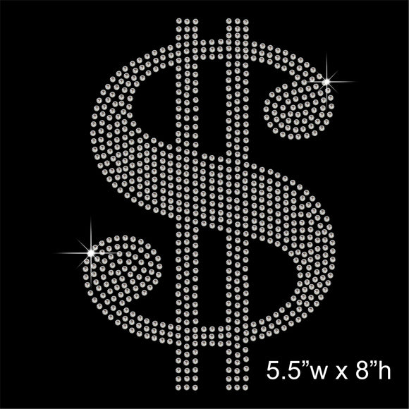 Dollar Sign Hotfix Rhinestone Transfer Diamante Motif, Iron on Applique