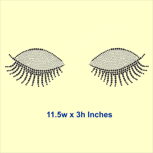 Eye Lashes Hotfix Rhinestone Transfer Diamante Motif, Iron-on Applique
