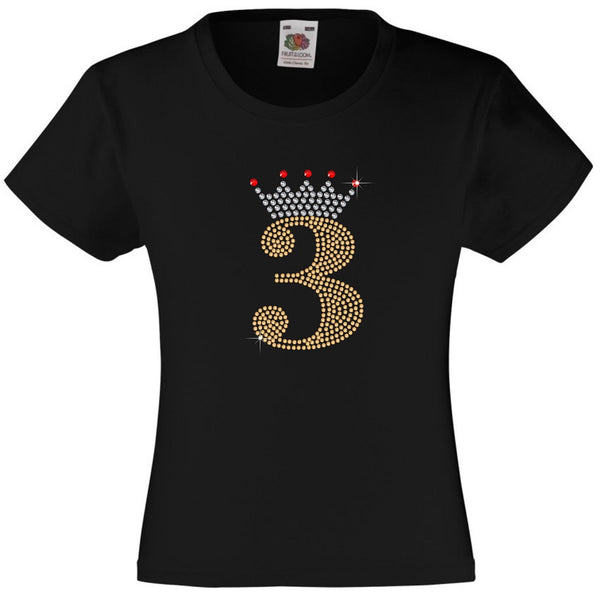 NUMBER 3 IN GOLD COLOUR WITH TIARA GIRLS T SHIRT, RHINESTONE EMBELLISHED BIRTHDAY T SHIRT, ELEGANT GIFT FOR THEIR BIG DAY