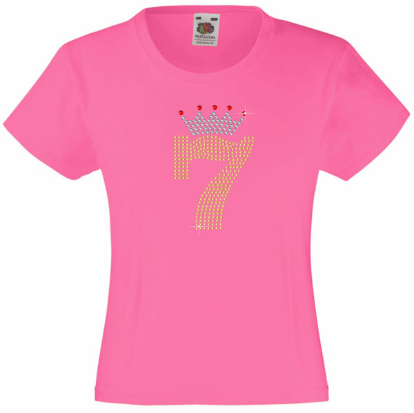 NUMBER 7 IN GOLD COLOUR WITH TIARA GIRLS T SHIRT, RHINESTONE EMBELLISHED BIRTHDAY T SHIRT, ELEGANT GIFT FOR THEIR BIG DAY