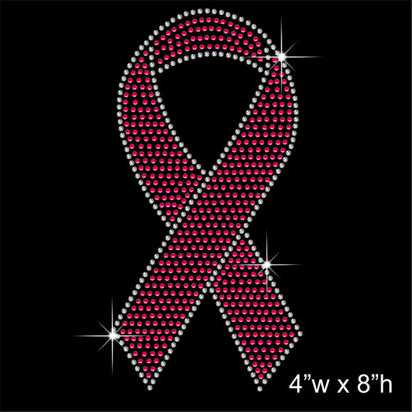 Cancer hope pink ribbon Hotfix Rhinestone Transfer Diamante Motif, Iron on Applique