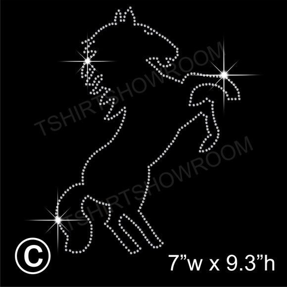 Rearing Horse Hotfix Rhinestone Transfer Diamante Motif, Iron-on Applique