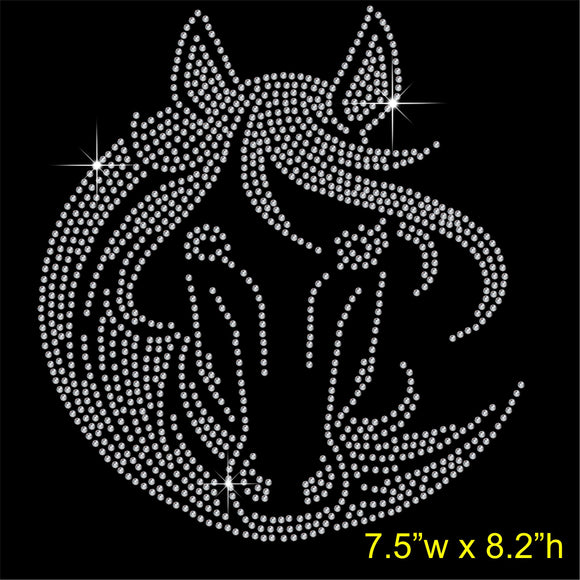 Horse Face Hotfix Rhinestone Transfer Diamante Motif, Iron-on Applique