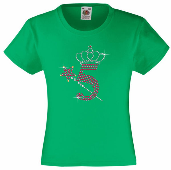 NUMBER 5 WITH CROWN & WAND GIRLS T SHIRT, RHINESTONE EMBELLISHED BIRTHDAY T SHIRT, ELEGANT GIFT FOR THEIR BIG DAY
