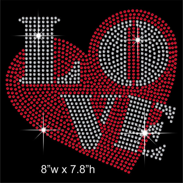 LOVE and Heart Hotfix Rhinestone Transfer Diamante Motif, Iron-on Applique