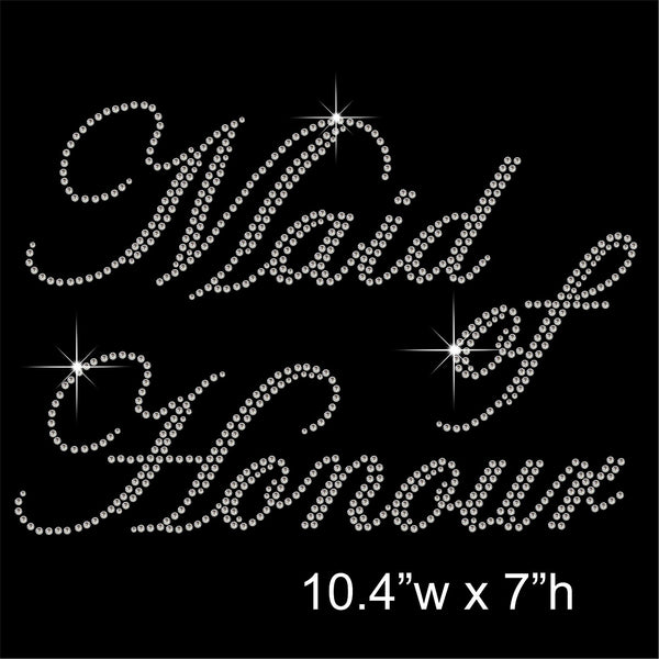 Maid of Honour Hotfix Rhinestone Transfer Diamante Motif, Iron on Applique