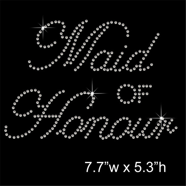 Maid of Honour Hotfix Rhinestone Transfer Diamante Motif, Iron-on Applique