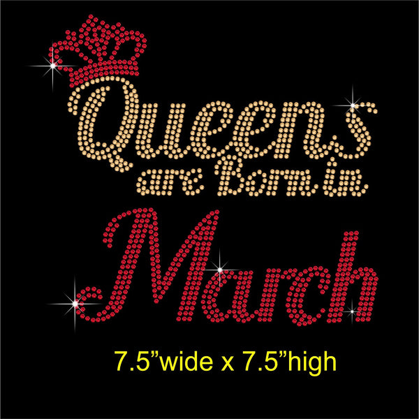 Queens are Born in March Hotfix Rhinestone Transfer Diamante Motif, Iron on Applique