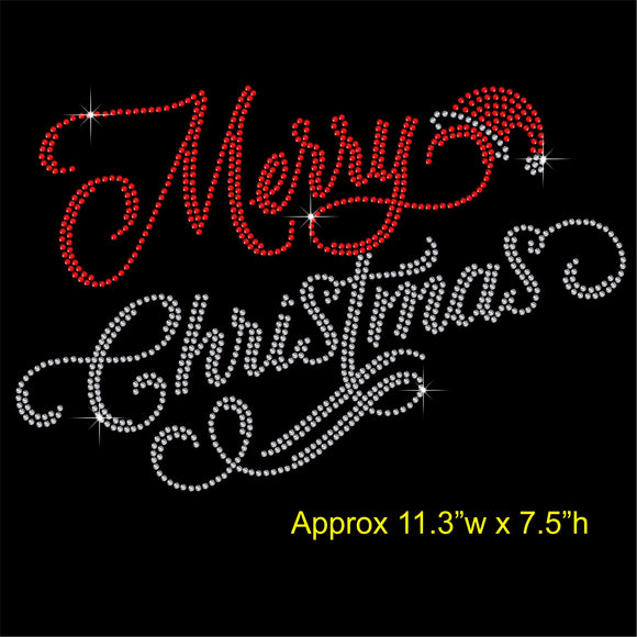 Merry Christmas Hotfix Rhinestone Transfer Diamante Motif Iron-on Applique