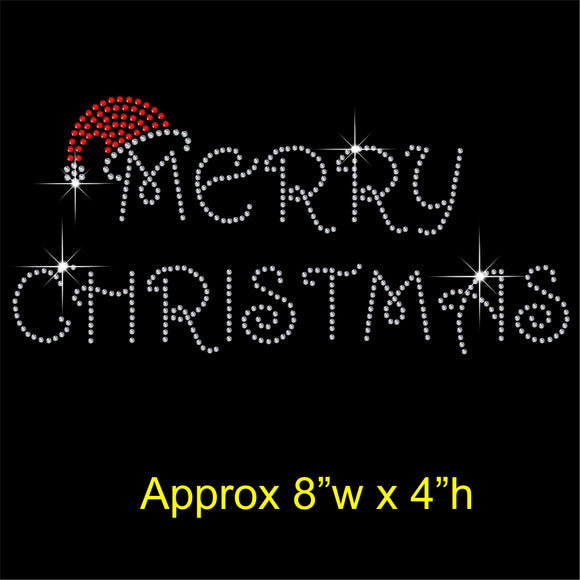 Merry Christmas Hotfix Rhinestone Transfer Diamante Motif, Iron-on Applique