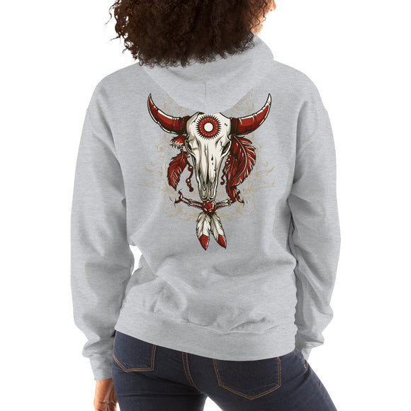 Ladies Hooded Sweatshirt, Skull design at the back code: 663
