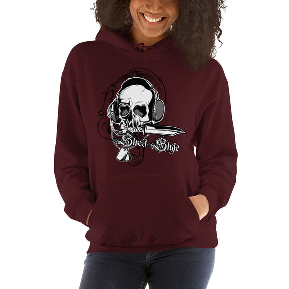 Ladies Hooded Sweatshirt, Skull design code: 150