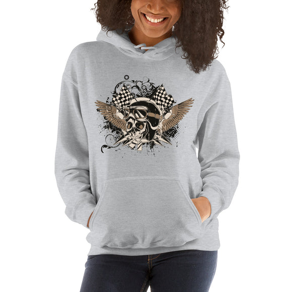 Ladies Hooded Sweatshirt, Skull design code: 175