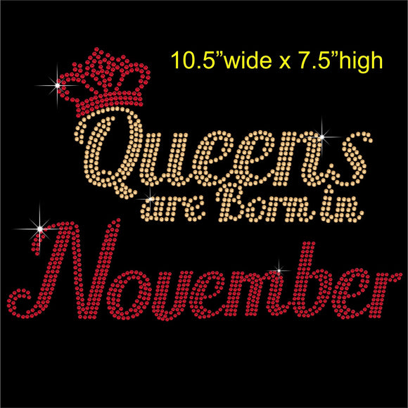 Queens are Born in November Hotfix Rhinestone Transfer Diamante Motif, Iron on Applique