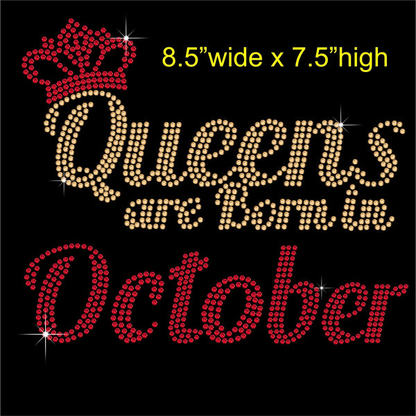 Queens are Born in October Hotfix Rhinestone Transfer Diamante Motif, Iron on Applique