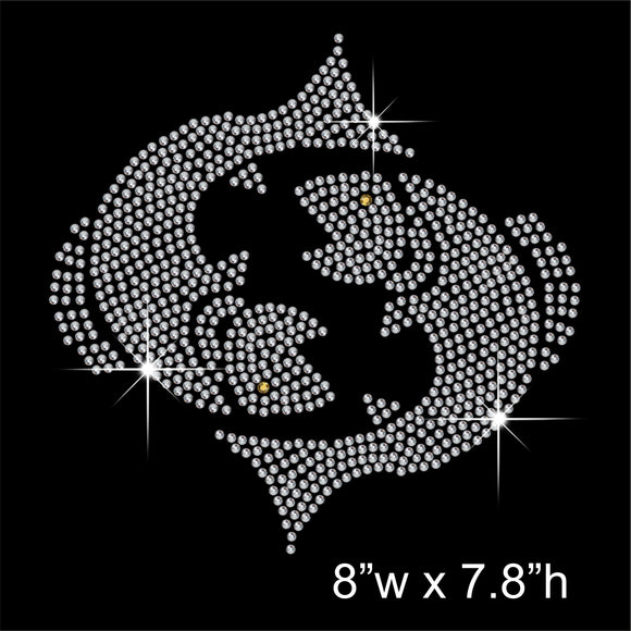 Pisces Zodiac Sign Hotfix Rhinestone Transfer Diamante Motif, Iron-on Applique