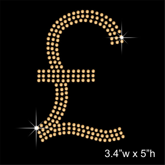 Pound Sterling Symbol Sign Hotfix Rhinestone Transfer Diamante Motif, Iron-on Applique
