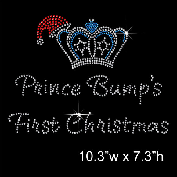 Prince Bump's 1st Christmas Hotfix Rhinestone Transfer Diamante Motif Iron-on Applique
