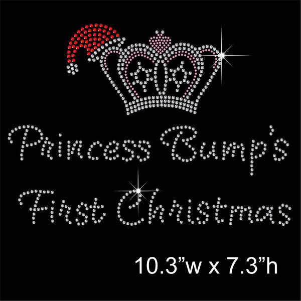 Princess Bump's 1st Christmas Hotfix Rhinestone Transfer Diamante Motif Iron-on Applique