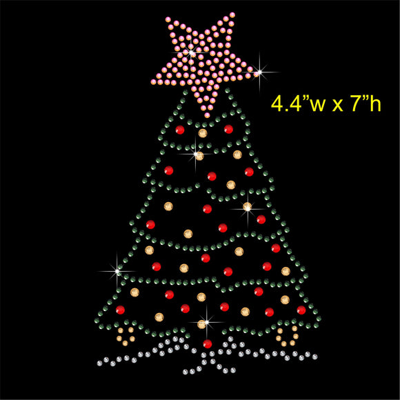 Christmas Tree Hotfix Rhinestone Transfer Diamante Motif, Iron on Applique