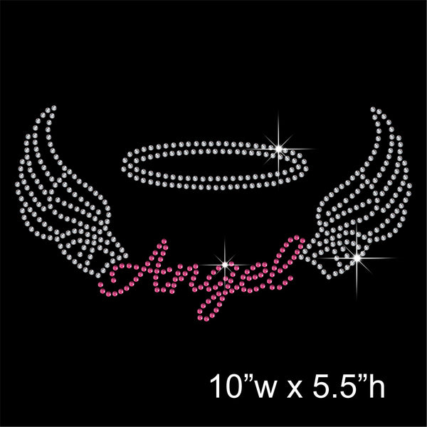 Angel and Wings Hotfix Rhinestone Transfer Diamante Motif, Iron-on Applique