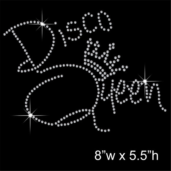Disco Queen Hotfix Rhinestone Transfer Diamante Motif, Iron on Applique