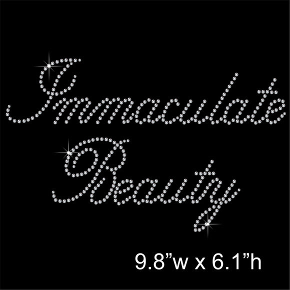 Immaculate Beauty Hotfix Rhinestone Transfer Diamante Motif, Iron on Applique