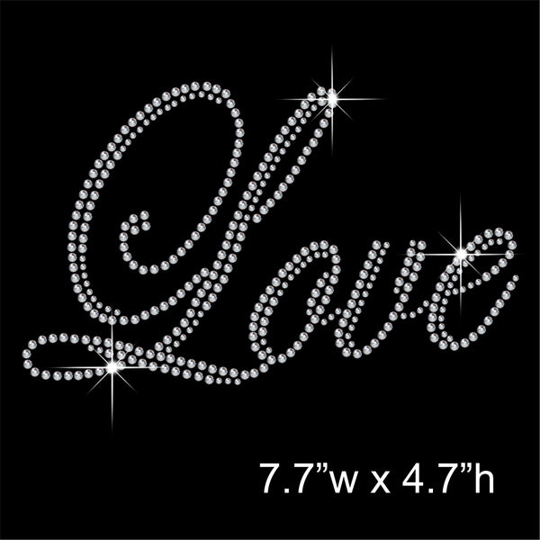 Love Hotfix Rhinestone Transfer Diamante Motif, Iron-on Applique