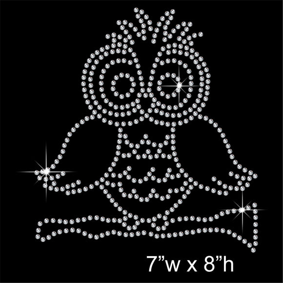 Owl Hotfix Rhinestone Transfer Diamante Motif, Iron-on Applique