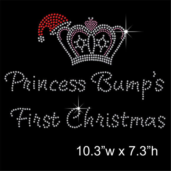 Princess Bump's First Christmas Hotfix Rhinestone Transfer Diamante Motif Iron on Applique