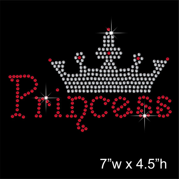 Princess with tiara Hotfix Rhinestone Transfer Diamante Motif, Iron on Applique