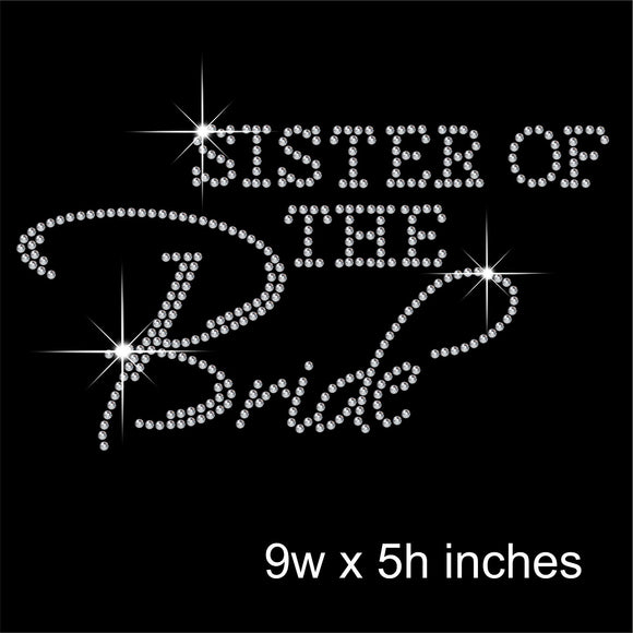 Sister of the Bride Hotfix Rhinestone Transfer Diamante Motif, Iron on Applique
