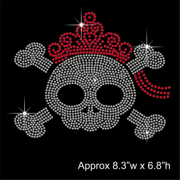 Skull with Tiara Hotfix Rhinestone Transfer Diamante Motif, Iron-on Applique
